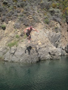 "brother ""not in law', "" Seth cannon balls into a big sur swimming hole"